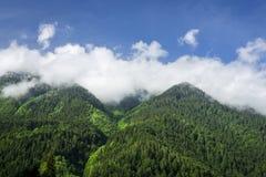 Bergmaxima som täckas med den gröna skogen mot den blåa sommarhimlen med vita moln Landskap av den georgian naturen Royaltyfri Foto