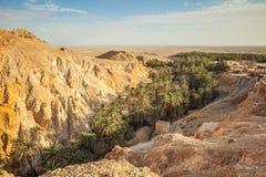 Bergoase Chebika bij grens van de Sahara, Tunesië, Afrika Royalty-vrije Stock Afbeelding