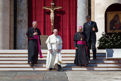 Bergoglio Pope in the Vatican, together with two bishops Stock Photos