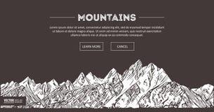 Bergområden Naturen skissar Det spetsiga berglandskapet skissar handteckningen, i gravyretsningstil, för ytterlighet Royaltyfri Foto