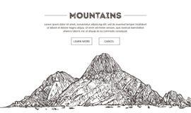 Bergområden Naturen skissar Det spetsiga berglandskapet skissar handteckningen, i gravyretsningstil, för ytterlighet Arkivbild