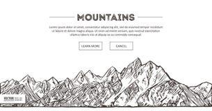 Bergområden Naturen skissar Det spetsiga berglandskapet skissar handteckningen, i gravyretsningstil, för ytterlighet Royaltyfri Bild