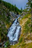 Bergopwaartse mening van humeurige Mysticusdalingen bij het Nationale Park van Yellowstone stock foto