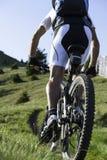 Bergopwaartse Mountainbike Stock Foto
