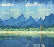 Bergpanorama reflektierte sich im Wasser des Sees