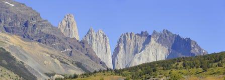 Bergpanorama van Torres del Paine, Chili Patagonië stock fotografie