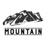 Bergpictogram Zwart-wit bergembleem stock foto's