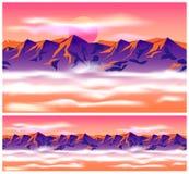 Bergpieken in de wolken vector illustratie