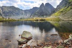 Bergpieken in het gletsjermeer dat worden weerspiegeld Stock Afbeeldingen