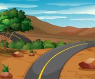 Bergplats med den tomma vägen stock illustrationer