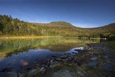 Bergreflexioner i lugna vatten av det östliga dammet, vita berg Royaltyfri Fotografi