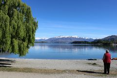 Bergreflexioner i sjön Wanaka, Nya Zeeland Fotografering för Bildbyråer