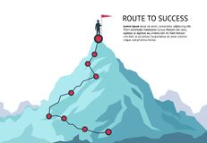 Bergresabana Resa för plan för tillväxt för mål för överkant för karriär för ruttutmaning infographic till framgång Klättra för a vektor illustrationer