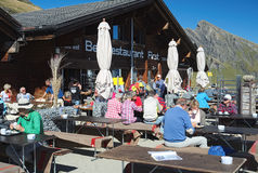 Bergrestaurant First during the famous hiking trail from First to Grindelwald (Bernese Alps, Switzerland). Royalty Free Stock Photo
