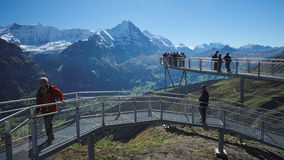 Bergrestaurant First during the famous hiking trail from First to Grindelwald (Bernese Alps, Switzerland). Stock Photos