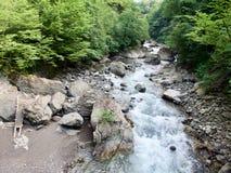 Bergrivier, Abchazië, de Kaukasus Stock Afbeeldingen
