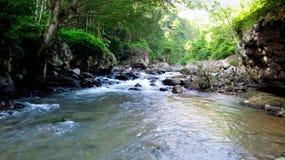 Bergrivier in het midden van bos, in Tasikmalaya, West-Java, Indonesië royalty-vrije stock fotografie