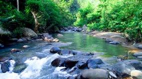 Bergrivier in het midden van bos, in Tasikmalaya, West-Java, Indonesië Stock Afbeeldingen