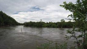 Bergrivier met modderig water in bewolkt somber weer stock videobeelden