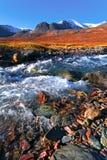 Bergrivier op een achtergrond van bergpieken Royalty-vrije Stock Afbeelding