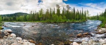 Bergrivier in Siberië stock afbeelding