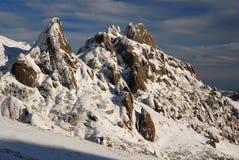 bergromania snöig vinter Arkivfoto