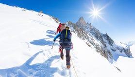 Bergsbestigare klättrar ett snöig maximum I bakgrund den berömda maximala bucklan du Geant i Mont Blanc Massif, den högsta europe royaltyfri foto