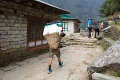 Bergsbestigare och portvakttrek till den Sagarmatha nationalparken Royaltyfria Foton