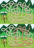 Bergsbestigarelabyrint vektor illustrationer
