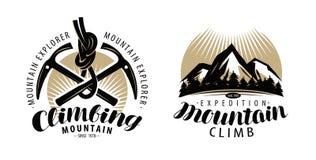Bergsbestigning, klättringlogo eller etikett Expedition bergklättringemblem Tappningbokstävervektor vektor illustrationer