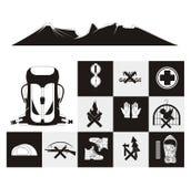 Bergsbestigningsymbolsuppsättning Vektor Illustrationer
