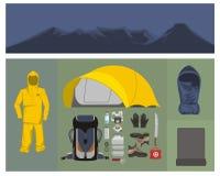 Bergsbestigningutrustningillustration Stock Illustrationer