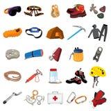 Bergsbestigningutrustningsymboler upps?ttning, tecknad filmstil royaltyfri illustrationer