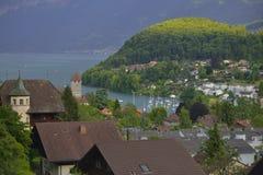 Bergscène met de stad en het Kasteel van Thun zwitserland Royalty-vrije Stock Fotografie
