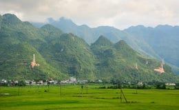 Bergscène met padievelden in Hoa Binh, Vietnam stock afbeeldingen