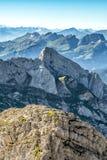 Bergsikt från monteringen Saentis, Schweiz Arkivbilder