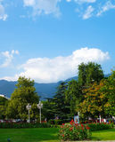 Bergsikt från parkera Arkivfoto
