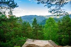 Bergsikt från skogen Royaltyfri Bild