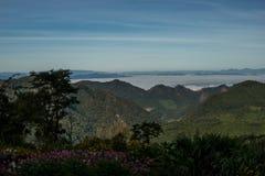 Bergsikt med sjön av dimma i morgon Royaltyfri Bild