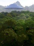 Bergsikt med UFO 3 Arkivbild