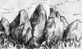 Bergskedja skissar Arkivbild