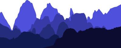 Bergskedjabakgrund i skuggor av den blåa vektorn arkivbilder