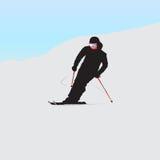 Bergskidåkaren på nedstigning vektor illustrationer