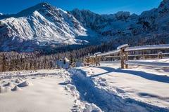 Bergslinga som leder till skyddet i vinter Royaltyfria Foton