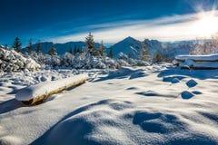 Bergslinga som täckas med snö Arkivbilder