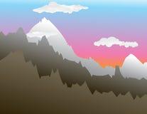 bergsolnedgång stock illustrationer