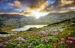 Bergsolnedgången landskap royaltyfri foto