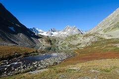 Bergspegelsjö i scenisk sikt för höstfärger Nedg?ng i de Altai bergen, Ryssland arkivbild
