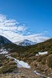 Bergspitze und ein Weg durch Wacholderbuschbüsche im Spätherbst lizenzfreies stockbild