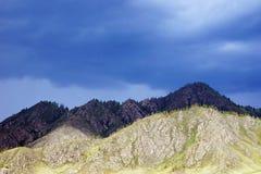 Bergspitzen am düsteren Tag Stockbilder